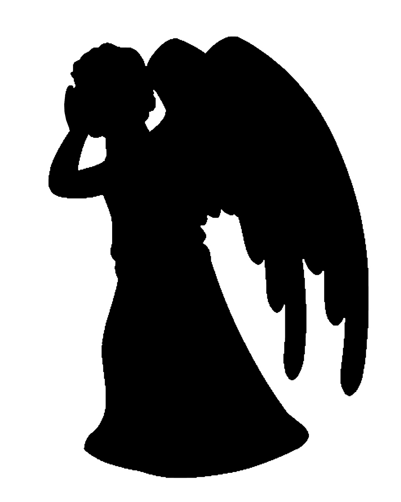 1280x1600 Praying Angel Silhouette Clip Art