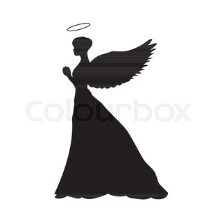 320x320 Vector Illustration Of Black Silhouette Of A Young Girl With Angel