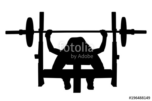 500x334 Female Athlete Powerlifter Bench Press Black Silhouette Stock