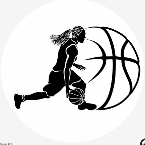 483x483 Female Basketball Dribble Sihouette With Ball Sportsartzoo