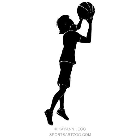 450x450 Silhouette Girl Shooting A Basketball Sportsartzoo