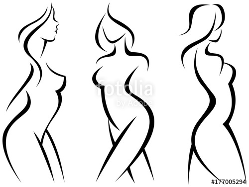 500x376 Set Of Stylized Silhouettes Woman Body Stock Image And Royalty