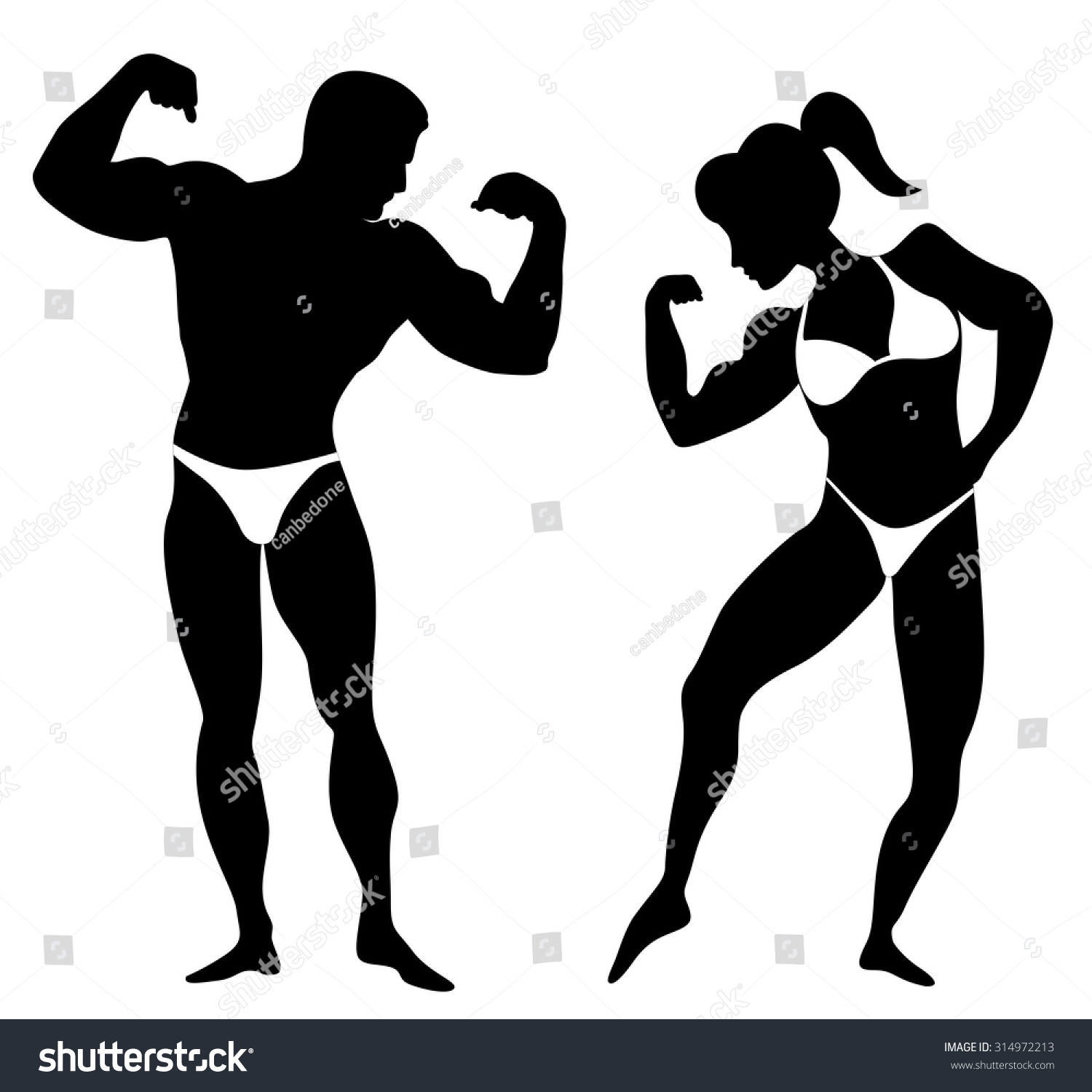 1500x1500 Clip Art Silhouette Man Woman Body Builders Showing Stock Vector