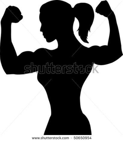 409x470 Bodybuilding Logos Outline Of A Female Bodybuilder Stock Vector