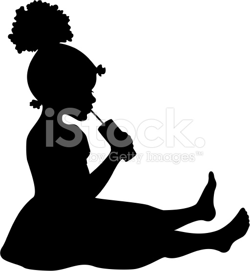 512x556 Little Black Girl Afro Puffs Silhouette Clipart