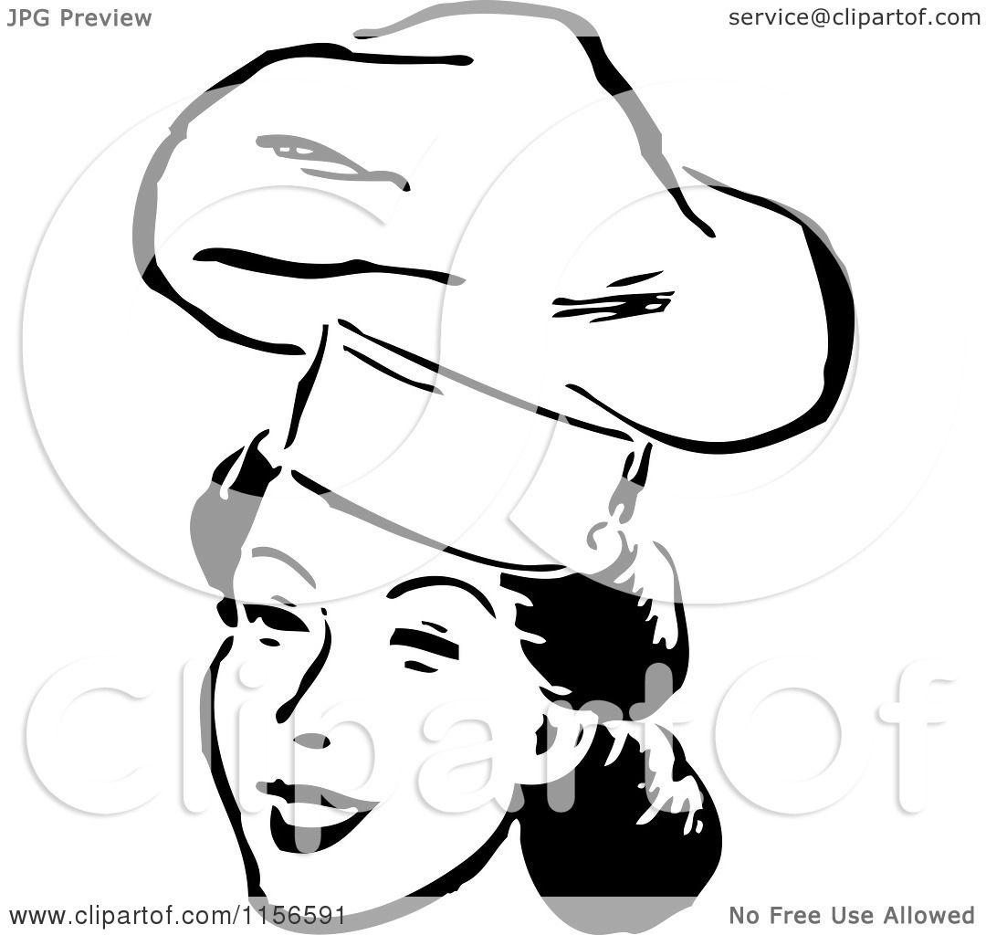 1080x1024 Clipart Of A Black And White Retro Female Chef Smiling