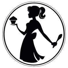 236x236 Clipart Of A Silhouetted Black Chef Woman's Face With A Colored