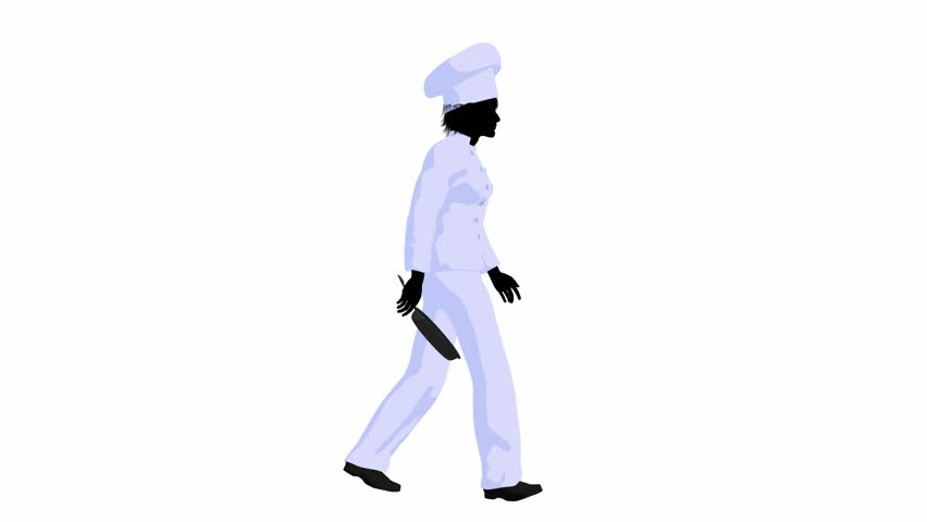 852x480 Female Chef Walking On A White Background Stock Footage Video