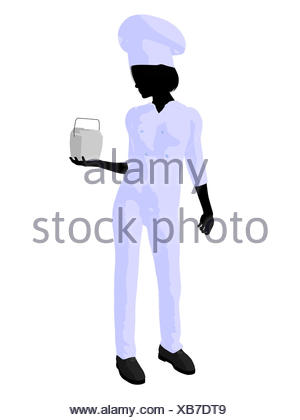300x420 Female Chef With A Takout Food Container Silhouette On A White