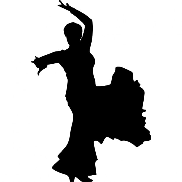626x626 Flamenco Female Dancer Silhouette Icons Free Download