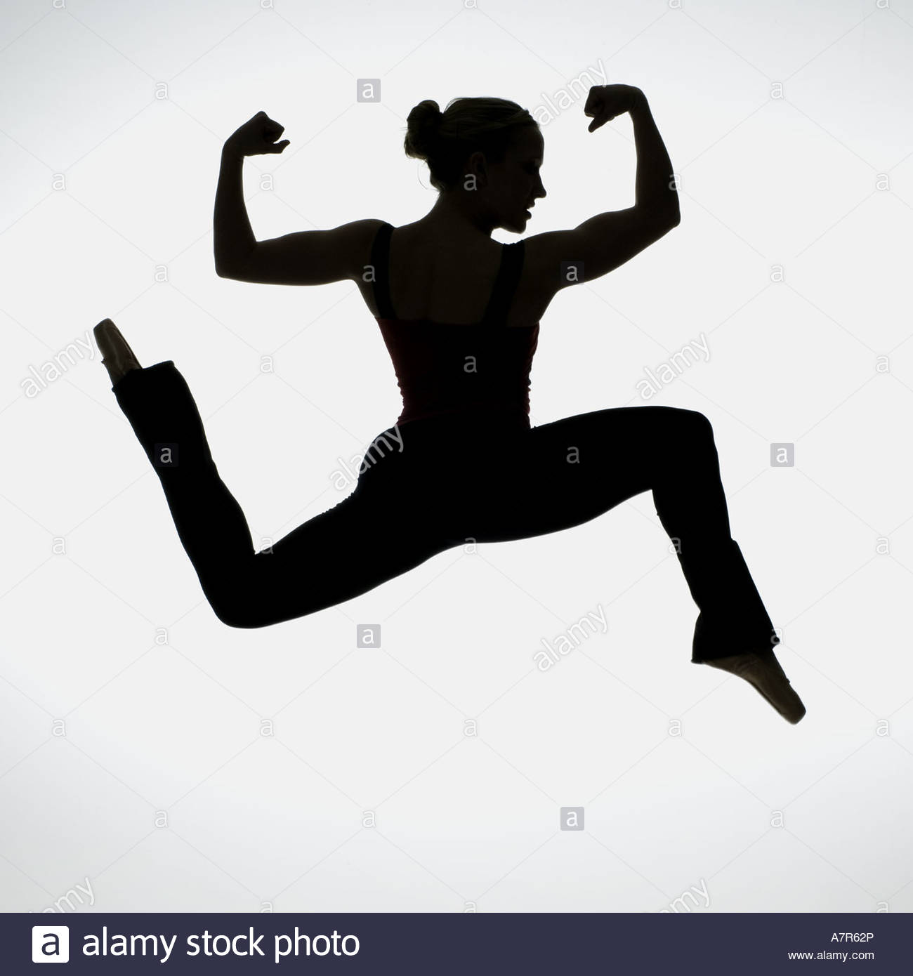 1300x1390 Side Profile Silhouette Of Female Dancer Flexing Muscles Stock