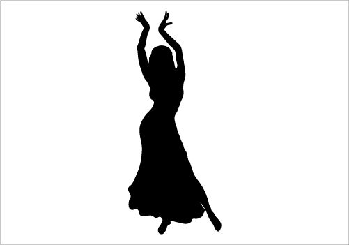 501x351 Vector Illustration Of A Silhouette Of Woman Dancing Belly Dance