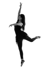 155x235 Silhouette Of A Female Dancer On Gradient White Background Stock