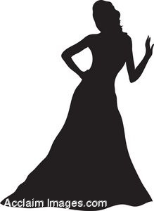 219x300 Clip Art Of The Silhouette Of A Woman Wearing An Evening Gown