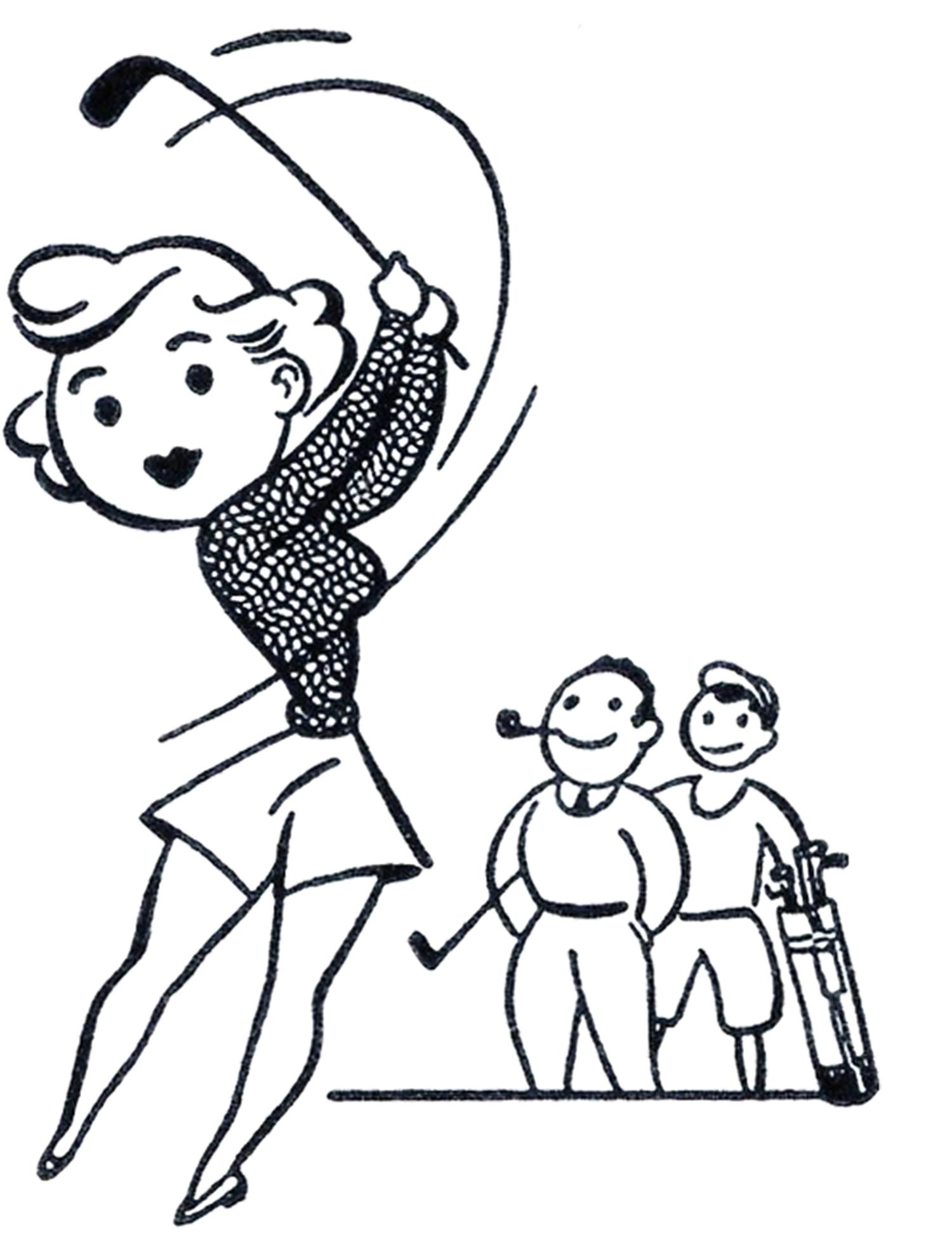 1500x1953 Female Golfer Silhouette Stock Illustrations 185 Female Golfer