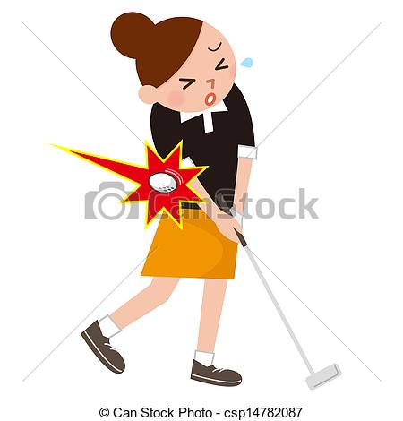 450x470 A Woman Was Injured In Golf Stock Illustration