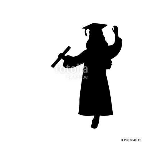 500x500 Silhouette Girl Graduation Finished Studying Stock Image