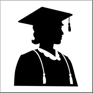 304x304 Clip Art Graduate Female Silhouette Bampw I Abcteach