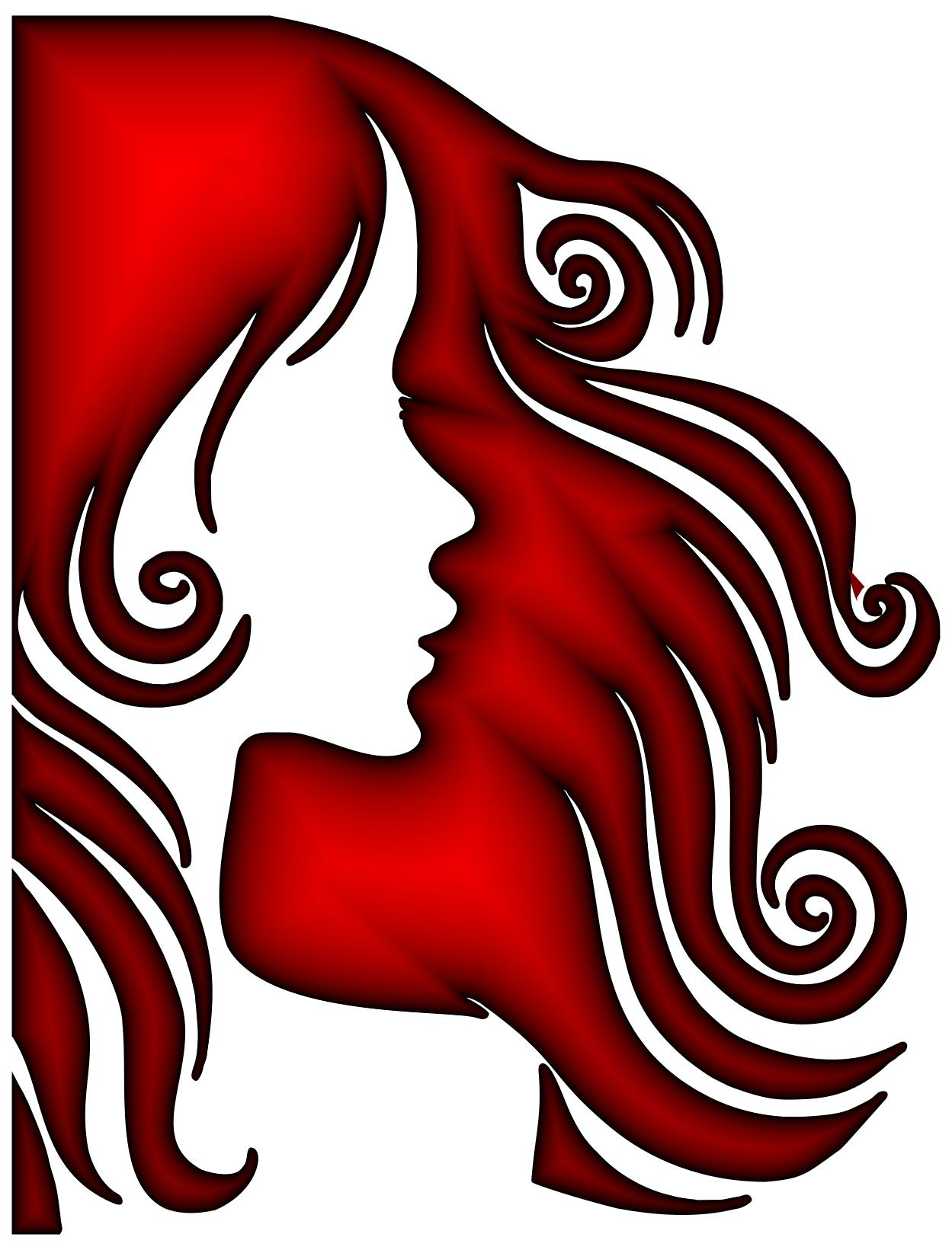 1249x1641 Female Hair Profile Silhouette Crimson Clipart