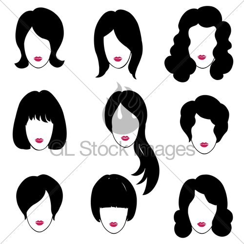 500x500 Hair Style Set. Woman Profile. Pretty Girl Face. Beauty S Gl