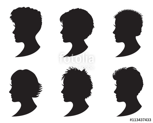 500x402 Set Of Black Silhouette Girl Head With Different Hairstyle. Short