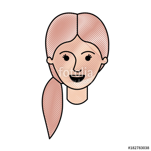 500x500 Female Face With Pigtail Hair In Colored Crayon Silhouette Vector