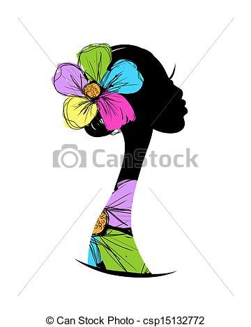 360x470 Female Head Silhouette For Your Design Vectors Illustration