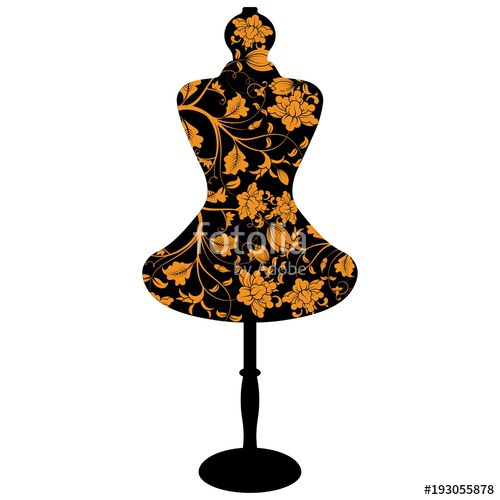 500x500 Female Mannequin Silhouette With Flower Pattern Stock Image