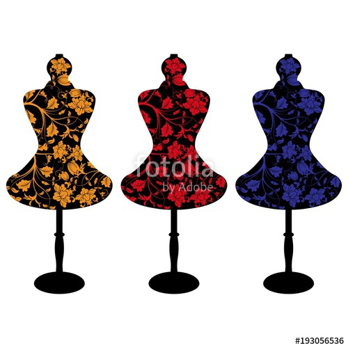 500x500 Set Of A Female Mannequin Silhouette With Colorful Flower Pattern