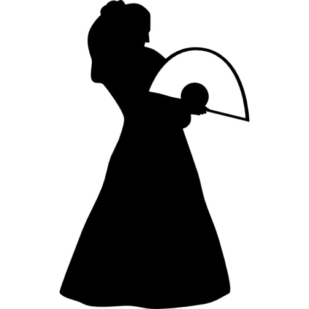 626x626 Flamenco Female Model Standing Silhouette With A Fan Icons Free