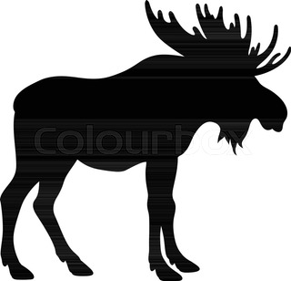 320x308 Silhouette Moose On Wood Background Stock Vector Colourbox