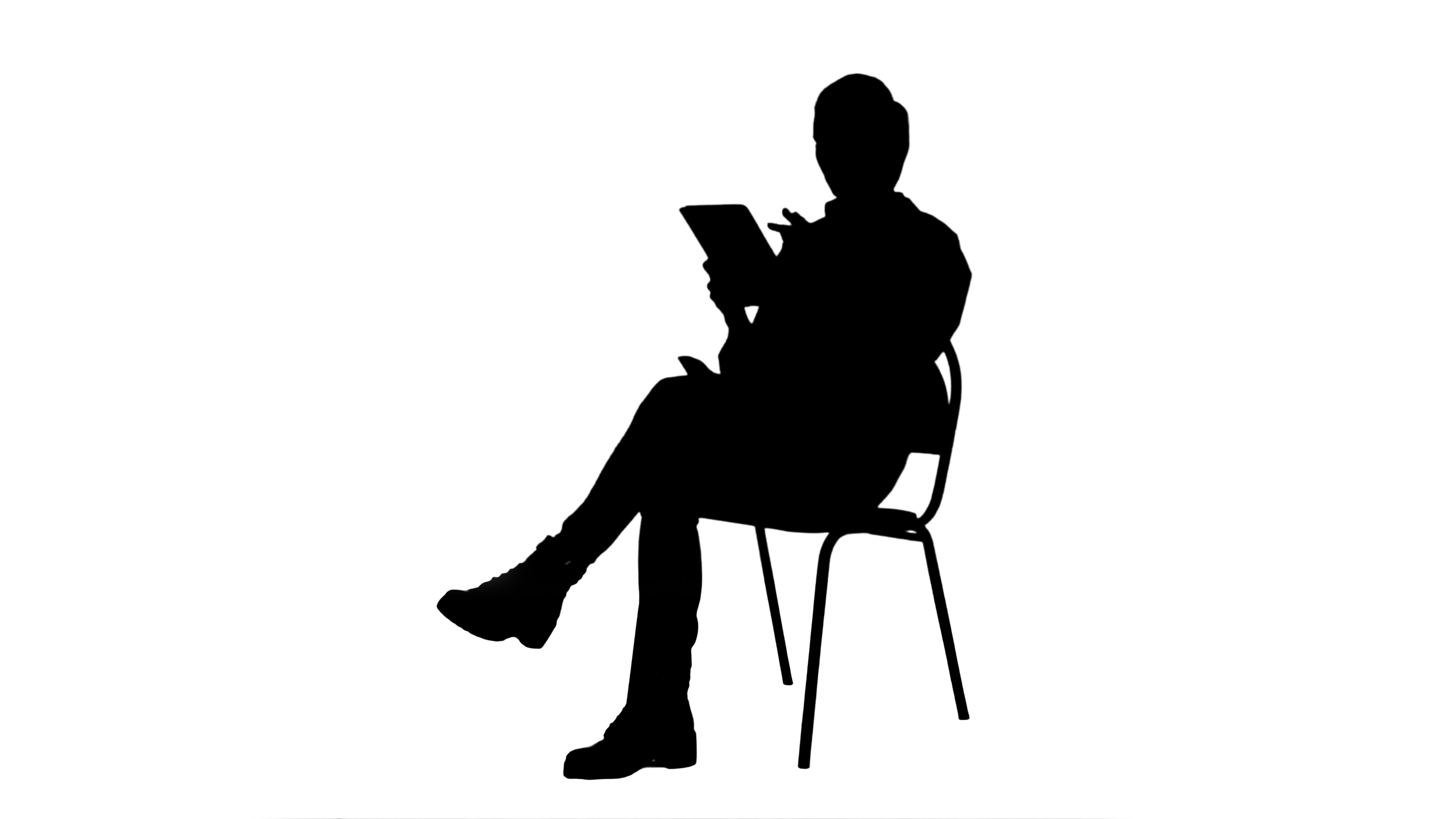 3840x2160 Silhouette Portrait Of Female Doctor With Tablet Computer Reading