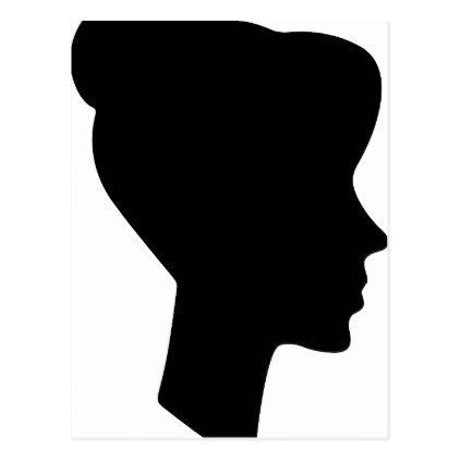 422x422 Female Profile Silhouette Postcard Silhouettes