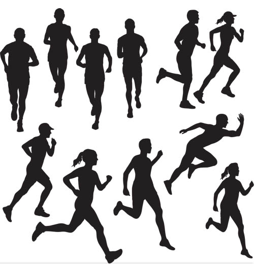 504x520 Runners Silhouettes Vector Silhouettes Vector Free Download