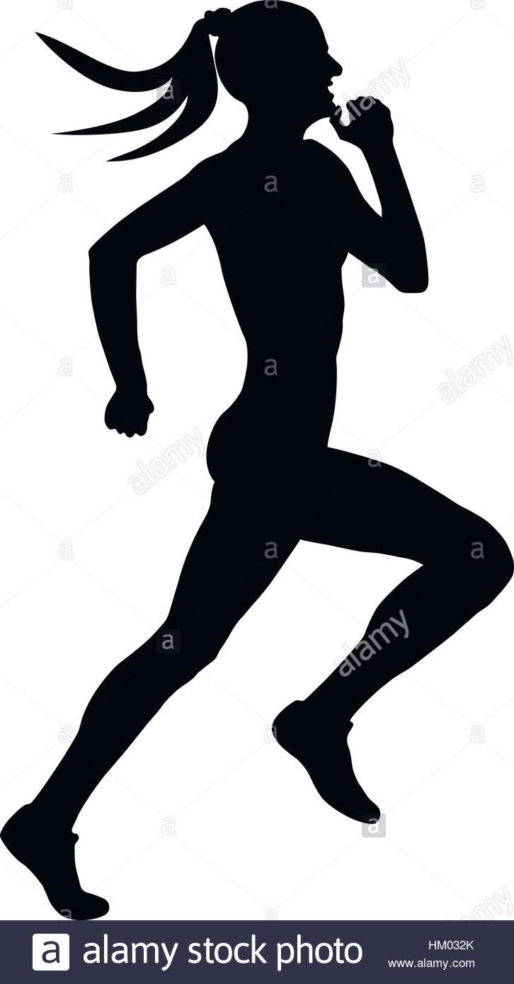 726x1390 Black Silhouette Female Runner Athlete Running A Sprint Stock