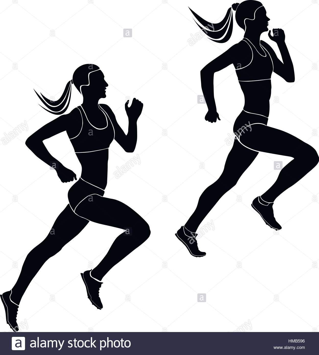 1249x1390 Two Women Athletes Runners Running Competition Black Silhouettes