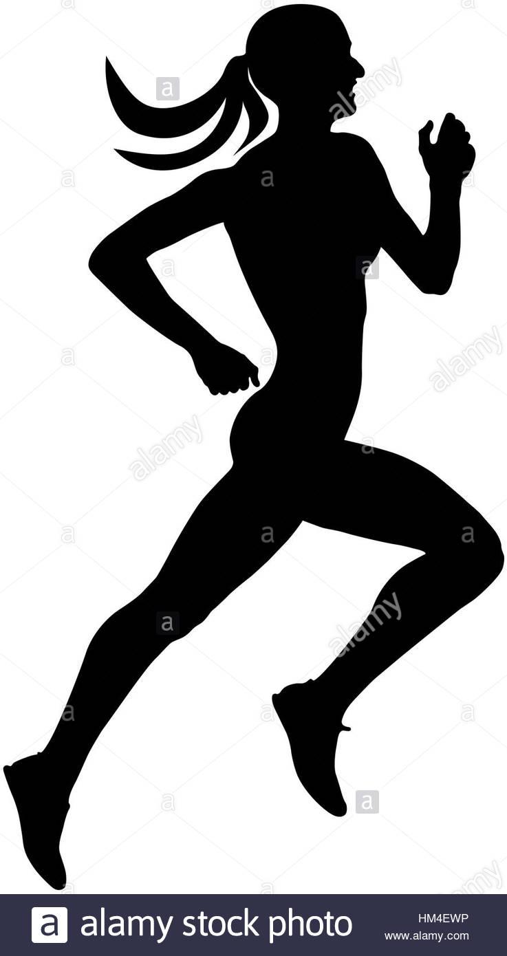 737x1390 Young Slender Female Runner Athlete Running Silhouette Black Stock