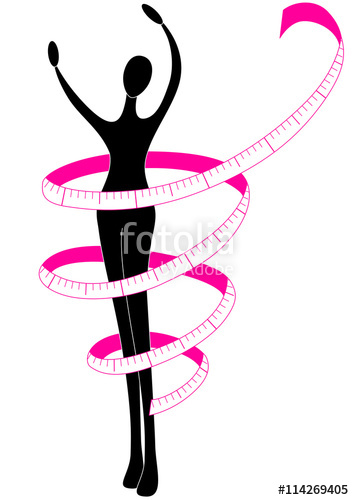 354x500 Female Silhouette With A Tape Measure Stock Image And Royalty