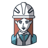 160x160 Lego Female Silhouette Worker With Helmet Vector Illustration