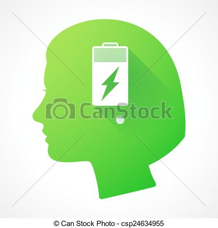 450x470 Female Head Silhouette Icon With A Battery. Illustration