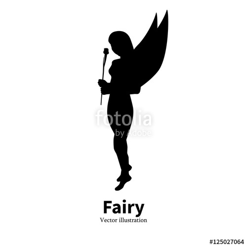 500x500 Logo Icon Faerie. Female Silhouette Pixy. Stock Image And Royalty