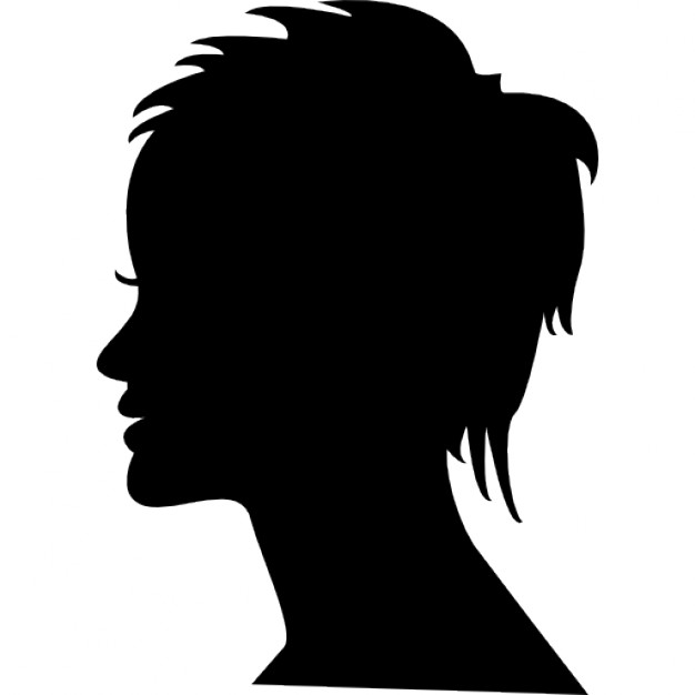 626x626 Short Female Hair On Side View Woman Head Silhouette Icons Free