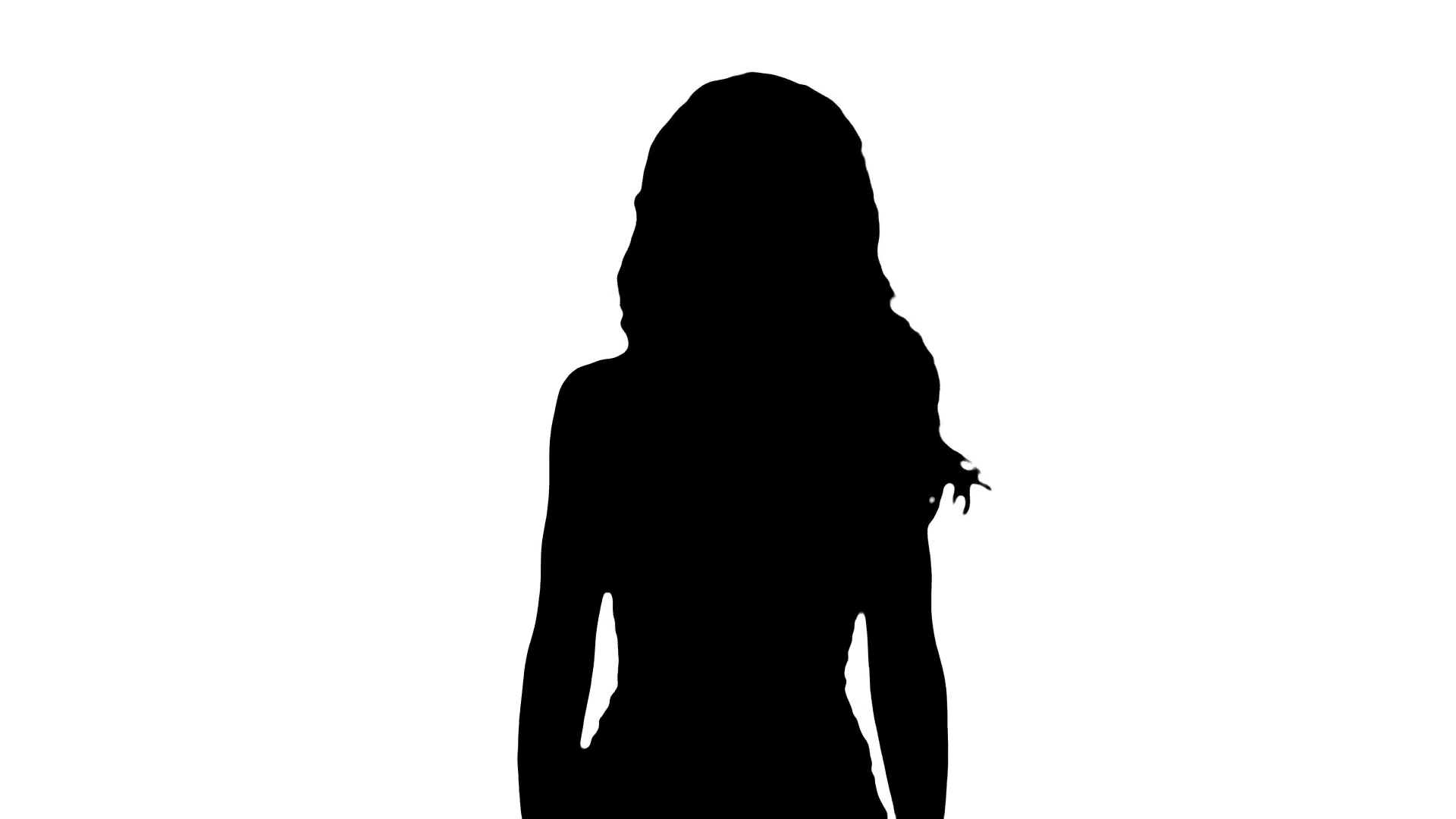 1920x1080 Black Female Silhouette On White Background Stock Video Footage