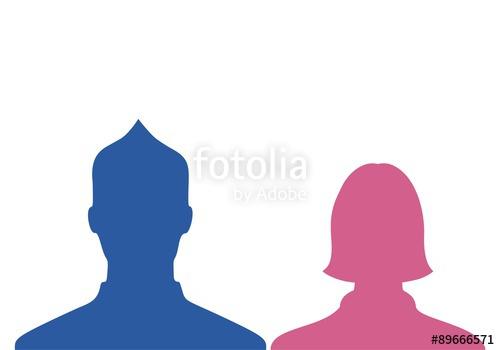 500x350 Male Amp Female Silhouette Profile Blue Pink Stock Image