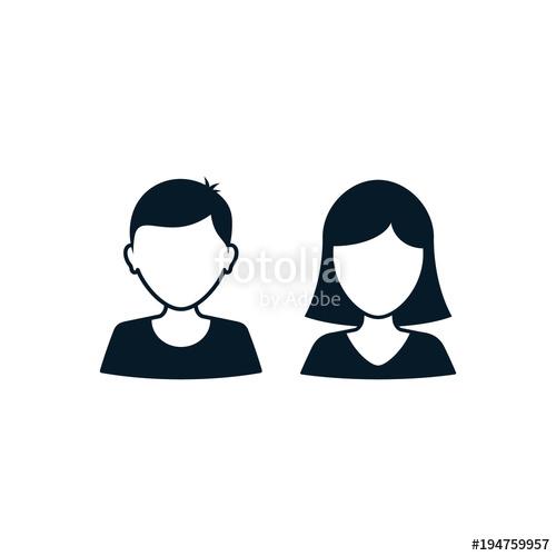 500x500 Man Woman User Icon Avatar Profile. Vector Silhouette Male