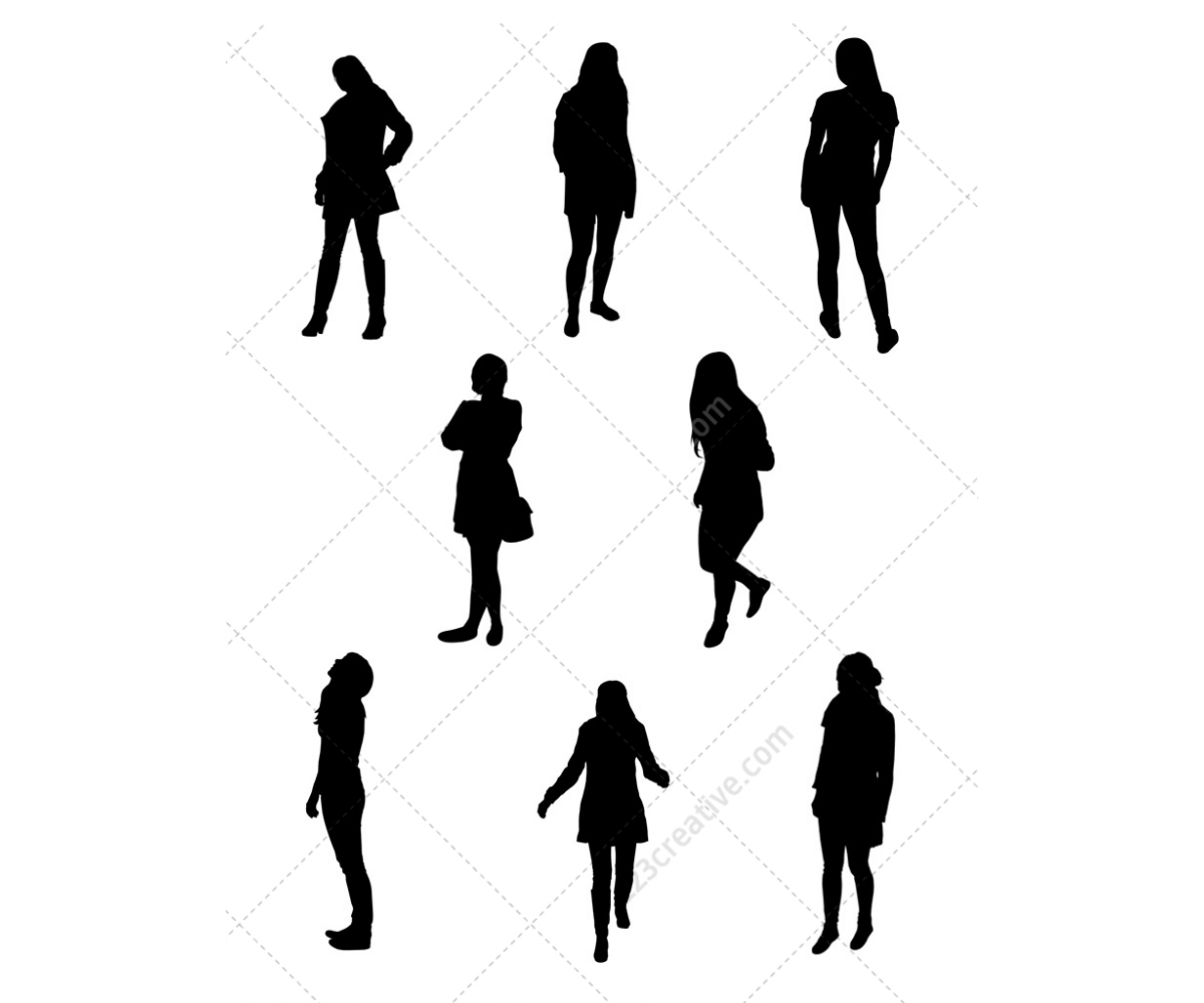 1200x1000 Ladies Vector Silhouettes