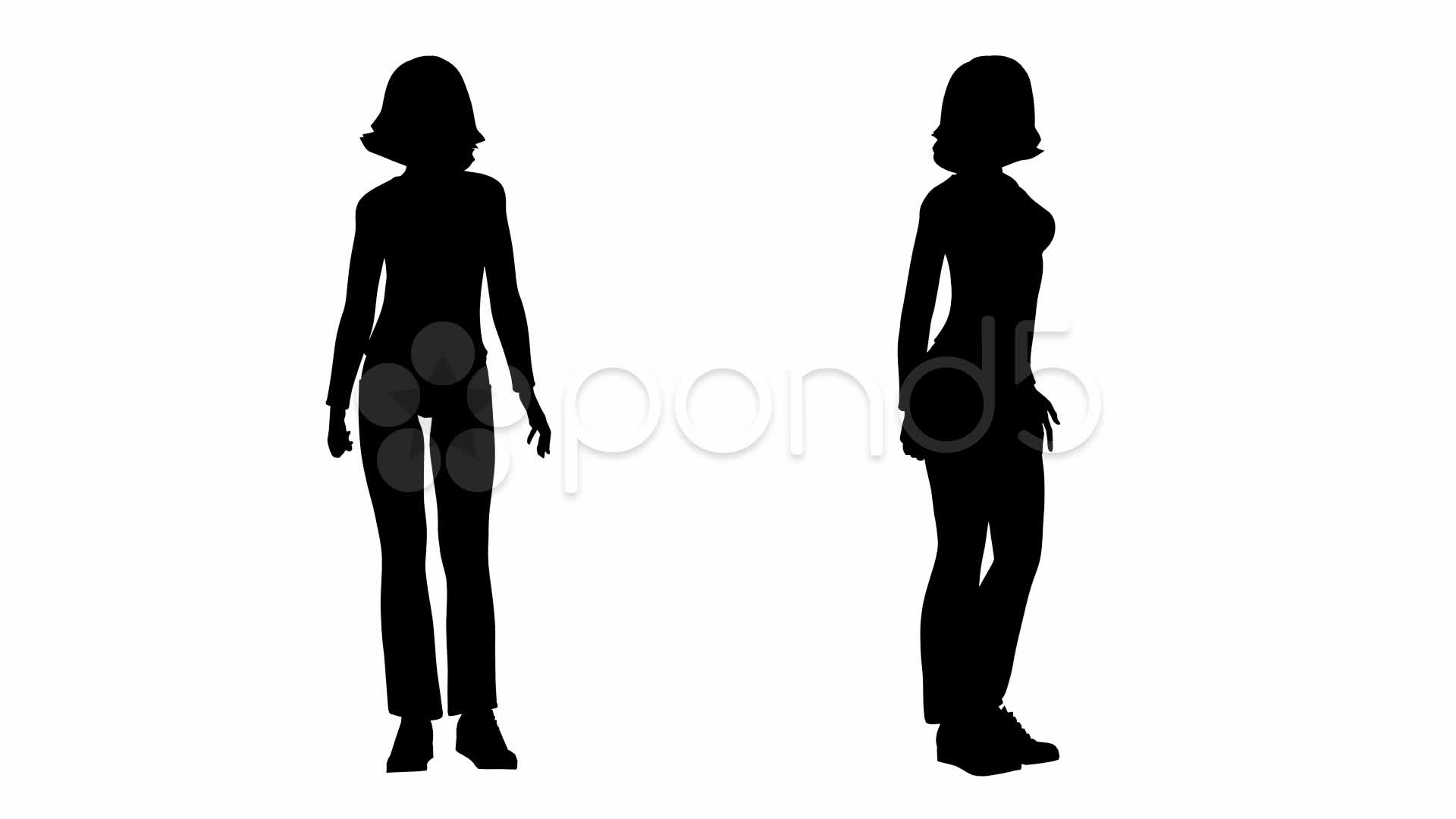 1920x1080 Loop Standing Woman Silhouette ~ Stock Footage
