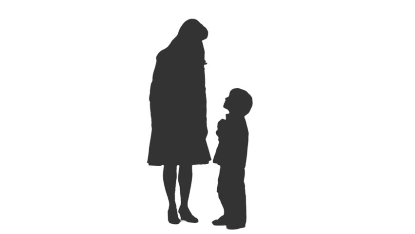 852x480 Silhouette Of A Woman Standing Talking With Her Son. Front