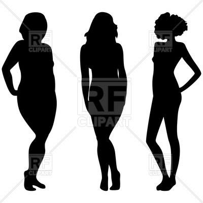 400x400 Female Silhouettes With Different Weight Royalty Free Vector Clip