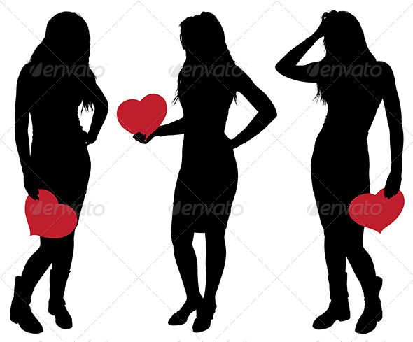 590x489 Silhouette Of A Girl Holding A Heart Silhouettes, Template And Girls